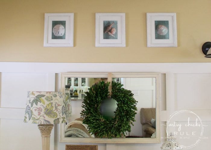 SIMPLE DIY Coastal Wall Art Tutorial!! (pretty simple wall decor) Easy, budget friendly home decor! artsychicksrule.com #coastalwallart #diywallart #diyhomedecor #coastalstyle #coastalhomedecor #coastaldiy #beachart #seashellart #seashellmakeover #seashellcrafts