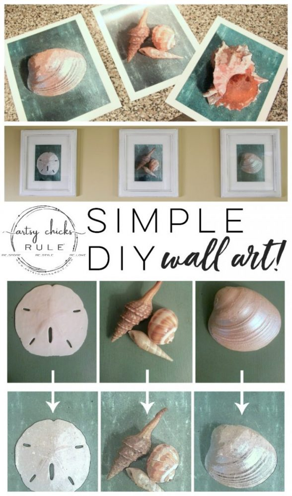SIMPLE DIY Coastal Wall Art Tutorial!! (as simple as taking a photo!) Easy, budget friendly home decor! artsychicksrule.com #coastalwallart #diywallart #diyhomedecor #coastalstyle #coastalhomedecor #coastaldiy #beachart #seashellart #seashellmakeover #seashellcrafts