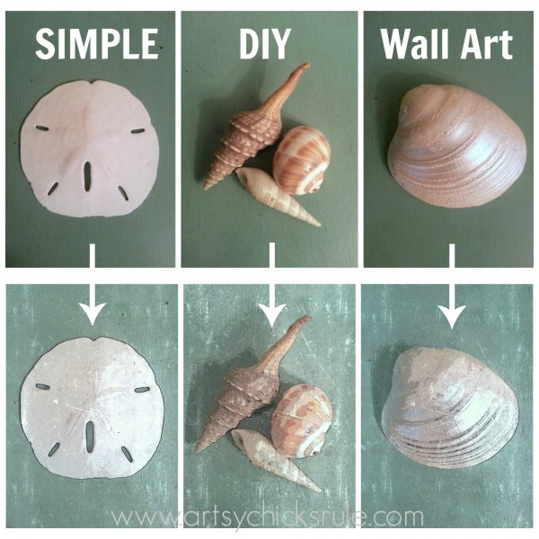 Thrifty Coastal Art from simple photos of shells - artsychicksrule.com #shells #coastal #wallart #diy