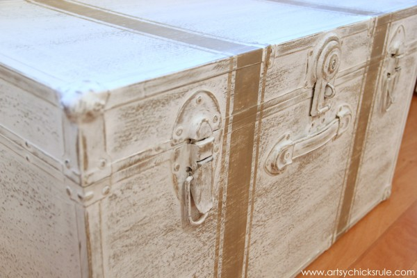 Travel Trunk Chalk Paint Makeover - After Up Close- artsychicksrule.com - #chalkpaint #makeover #trunk #coco