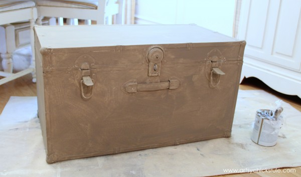 Travel Trunk Chalk Paint Makeover - Coco Layer- artsychicksrule.com - #chalkpaint #makeover #trunk #coco