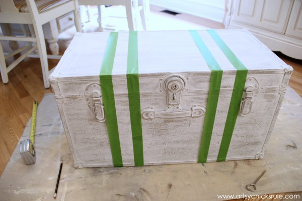 Travel Trunk Chalk Paint Makeover - Grain Sack Stripes Taped- artsychicksrule.com - #chalkpaint #makeover #trunk #coco