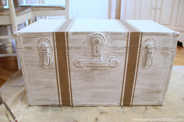 Travel Trunk Chalk Paint Makeover - Grain Sack Stripes- artsychicksrule.com - #chalkpaint #makeover #trunk #coco