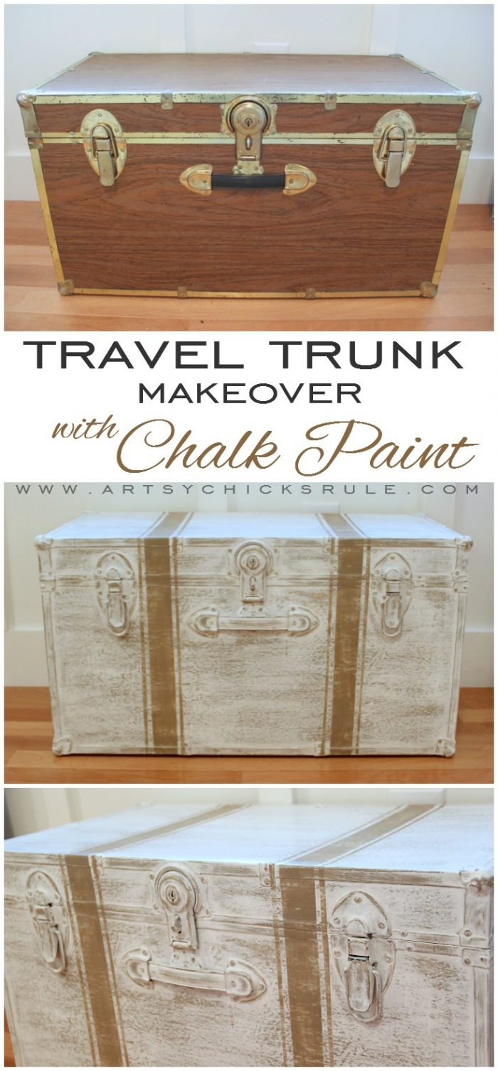 Travel Trunk Chalk Paint Makeover!! What a difference!! artsychicksrule.com #traveltrunk #trunkmakeover #chalkpaint #coco