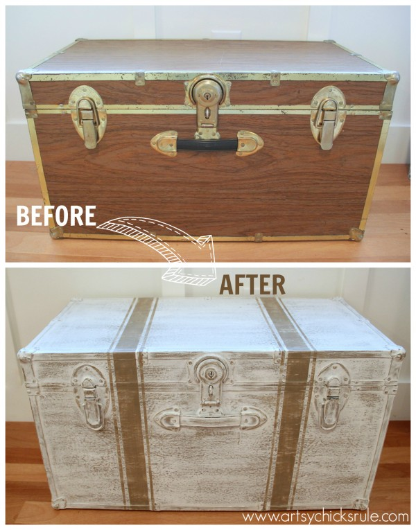Travel Trunk Chalk Paint Makeover - Before and After - artsychicksrule.com #chalkpaint #coco
