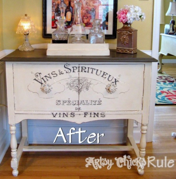 Antique-Sideboard-Before-During-and-After-with-Chalk-Paint-artsychicksrule.com #chalkpaint #graphicsfairy