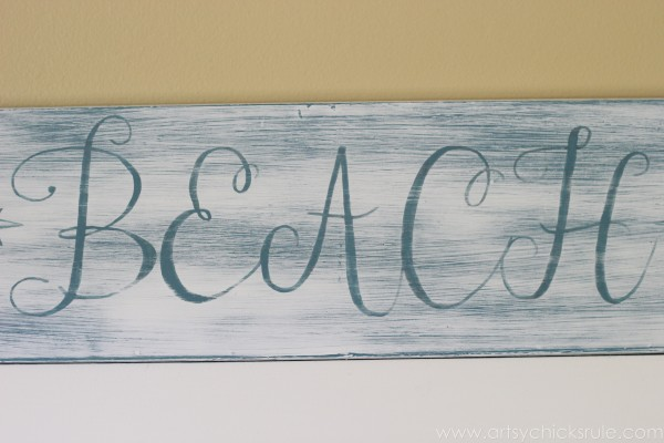 Beach Sun Sand Sign - DIY - Close Up - artsychicksrule.com #chalkpaint #aubusson #beach #sign