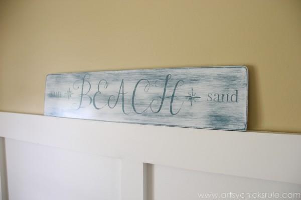 Beach Sun Sand Sign - DIY - From Side - artsychicksrule.com #chalkpaint #aubusson #beach #sign