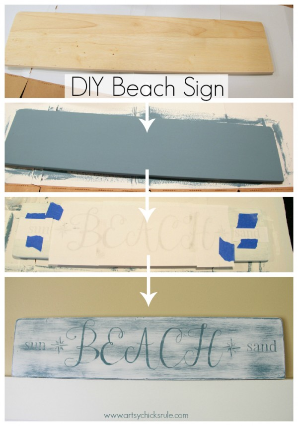 Beach Sun Sand Sign - DIY - Start to Finish - artsychicksrule.com #chalkpaint #aubusson #beach #sign