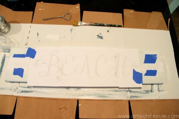 Beach Sun Sand Sign - DIY - Transferring Lettering - artsychicksrule.com #chalkpaint #aubusson #beach #sign