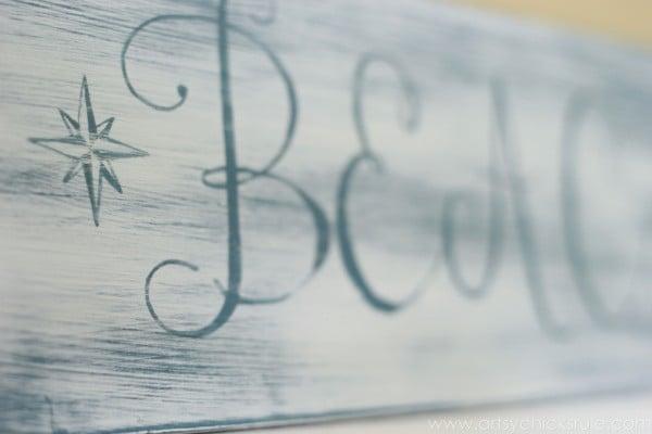 Beach Sun Sand Sign - DIY - Up Close Lettering - artsychicksrule.com #chalkpaint #aubusson #beach #sign