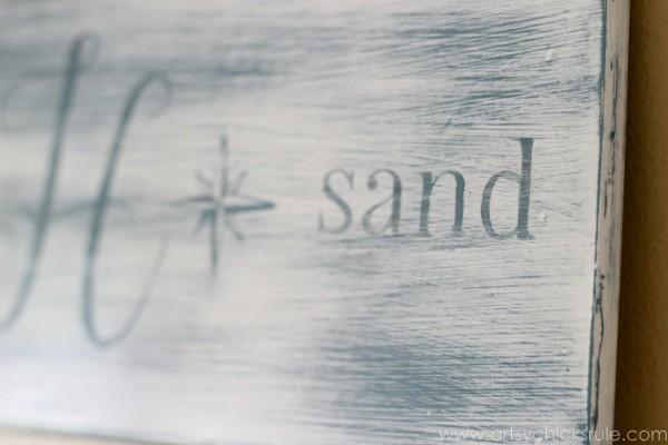 Beach Sun Sand Sign - DIY - Up Close - artsychicksrule.com #chalkpaint #aubusson #beach #sign