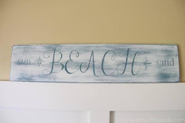 Beach Sun Sand Sign - DIY - artsychicksrule.com #chalkpaint #aubusson #beach #sign