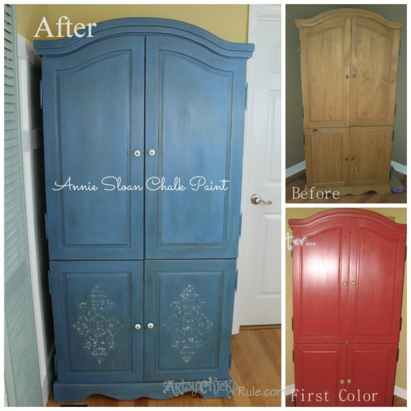 Blue Armoire - Chalk Paint - Stenciled - Before and After - artsychicksrule.com #chalkpaint