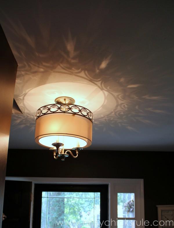 Foyer - AFTER - New Light Fixture - artsychicksrule.com