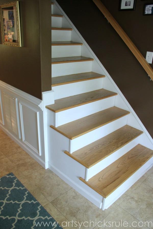Foyer - AFTER - New Oak Treads - DIY - artsychicksrule.com