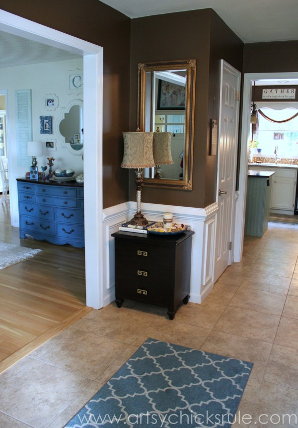 Foyer - AFTER - - Sherwin Williams - Kaffee - SW6104 - artsychicksrule.com