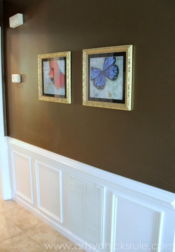 Foyer - Butterfly Artwork - New Wainsoting - Sherwin Williams - Kaffee - SW6104 - artsychicksrule.com