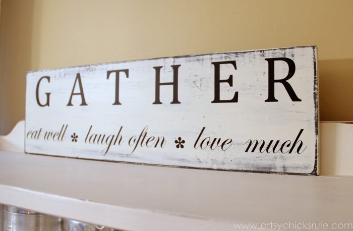 'Gather' Kitchen Sign - Silhouette Cameo Review - Side View -artsychicksrule.com #silhouette #cameo #sign