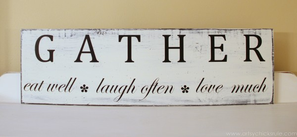 'Gather' Kitchen Sign - Silhouette Cameo Review - Up Close - artsychicksrule.com #silhouette #cameo #sign