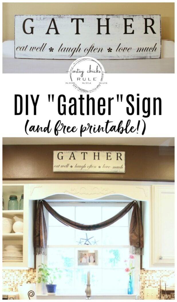 Gather Kitchen Sign Tutorial (simple!) artsyhchicksrule.com #gathersign #kitchensign #eatwellsign