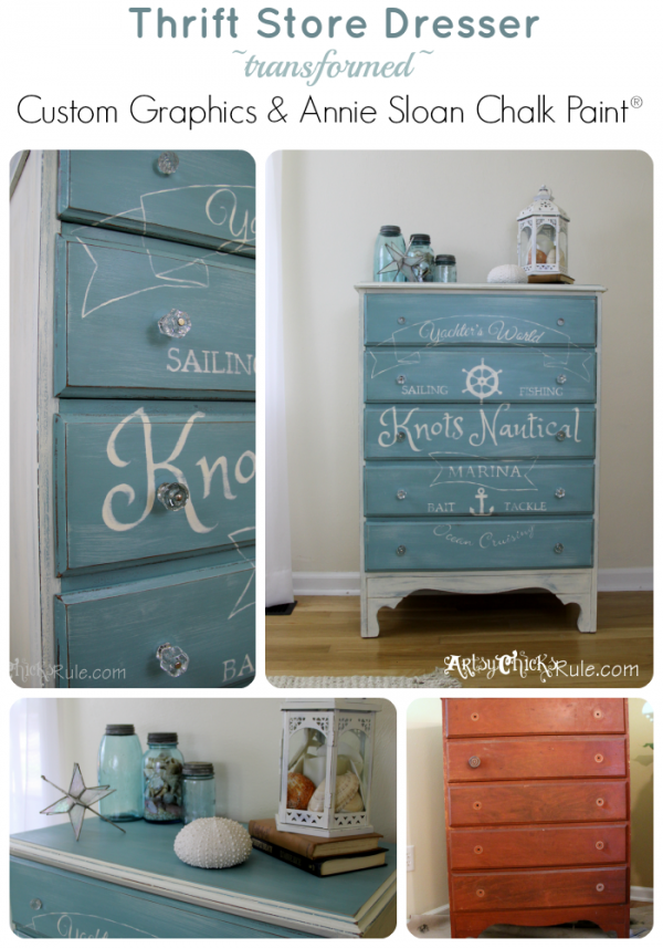 Knots-Nautical-Thrift-Store-Dresser-Custom-Graphic-Provence-Chalk-Paint- artsychicksrule.com #chalkpaint