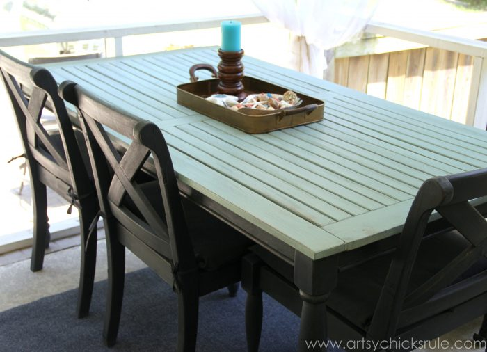 Patio Table Re Do After Side View Duck Egg Blue Chalk