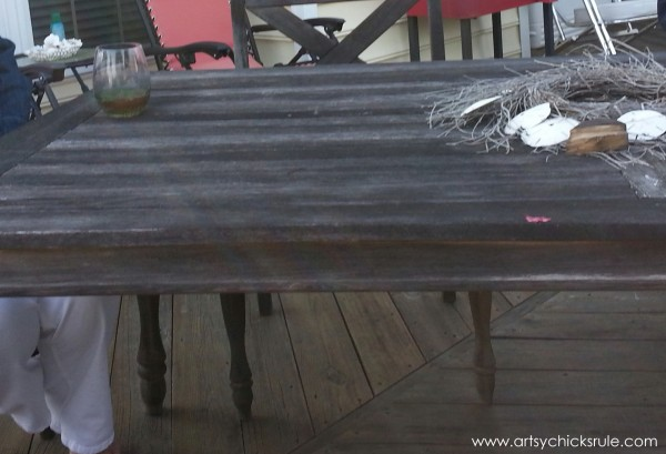 Patio Table Re-do - BEFORE - Duck Egg Blue Chalk Paint - artsychicksrule.com #chalkpaint #duckeggblue #graphite