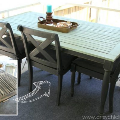 Rescued Patio Table Re-do (Duck Egg Blue Chalk Paint)