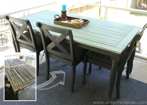 Patio Table Re-do - Bef Aft- Duck Egg Blue Chalk Paint - artsychicksrule.com #chalkpaint #duckeggblue #graphite