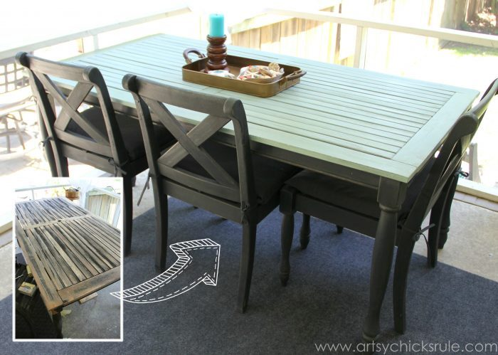 blue patio table with black chairs