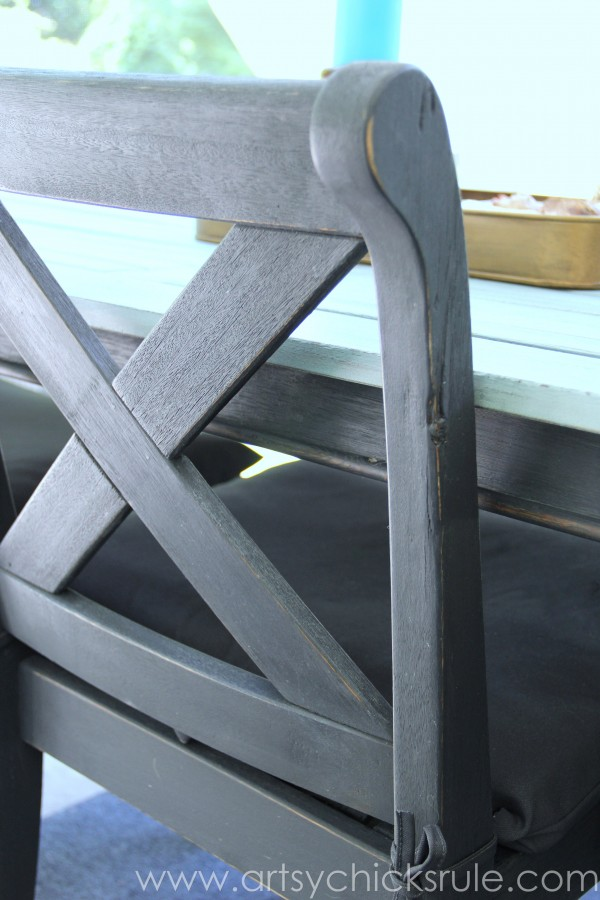 Patio Table Re-do - Up Close Chair- Duck Egg Blue Chalk Paint - artsychicksrule.com #chalkpaint #duckeggblue #graphite