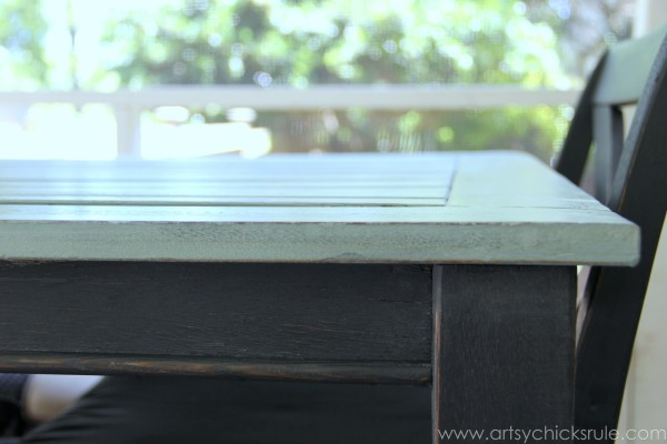 Patio Table Re-do - Up Close Top- Duck Egg Blue Chalk Paint - artsychicksrule.com #chalkpaint #duckeggblue #graphite