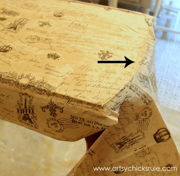 $5 Thrifty French Paper Decoupage Table Makeover - Adding edges -artsychicksrule.com #decoupage #french