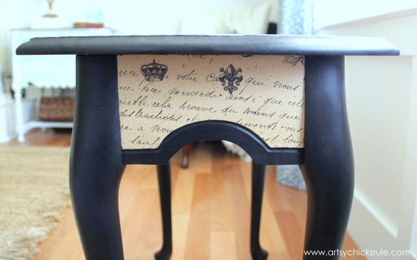 $5 Thrifty French Paper Decoupage Table Makeover - After Side -artsychicksrule.com #decoupage #french