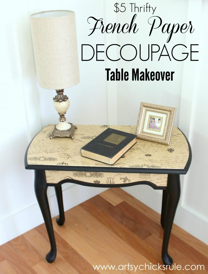 $5 Thrifty French Paper Decoupage Table {themed Makeover}