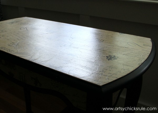 $5 Thrifty French Paper Decoupage Table Makeover - Showing 'aged' wrinkles -artsychicksrule.com #decoupage #french