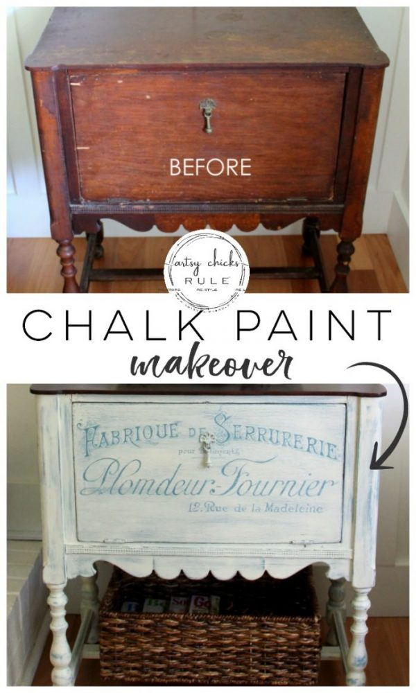 Paint and hand painted French graphics...WOW! What a difference! - BEFORE #chalkpaint #frenchgraphics #frenchstyle #frenchdecor #frenchcountry #chalkpaintedfurniture #paintedfurniture -artsychicksrule.com