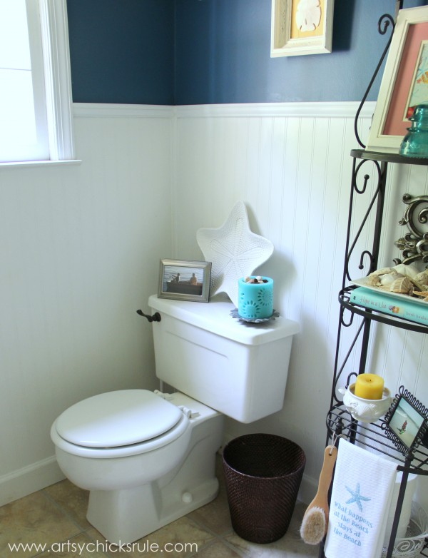 Guest Bath Makeover - Before and After Finished Corner- artyschicksrule.com #makeover #bath #diy