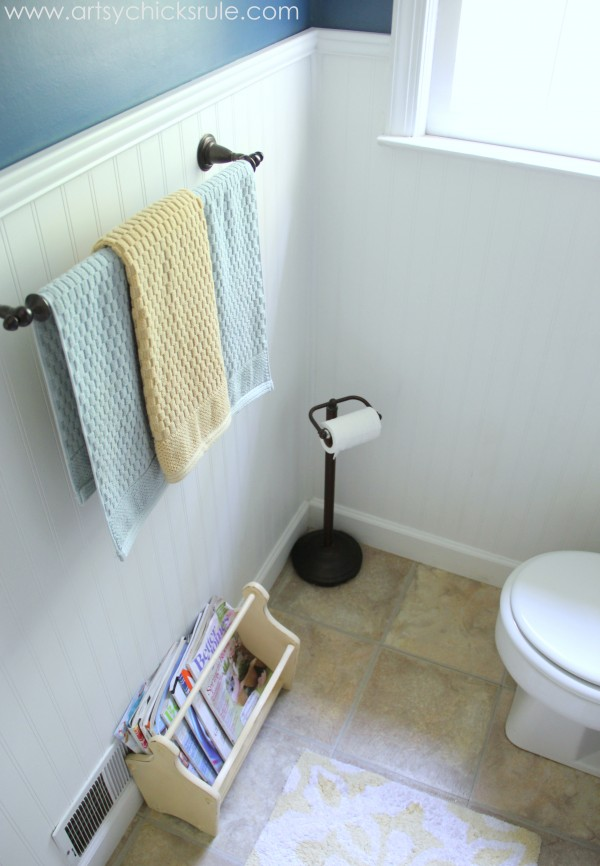 Guest Bath Makeover - Before and After Finished Side - artyschicksrule.com #makeover #bath #diy