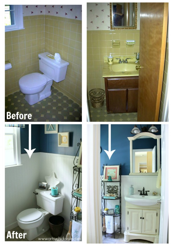 Guest Bath Makeover - Before and After Finished - artyschicksrule.com #makeover #bath #diy