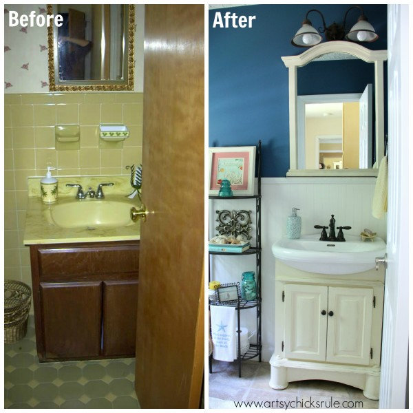 Guest Bath Makeover - Before and After - Sink - artyschicksrule.com #makeover #bath #diy