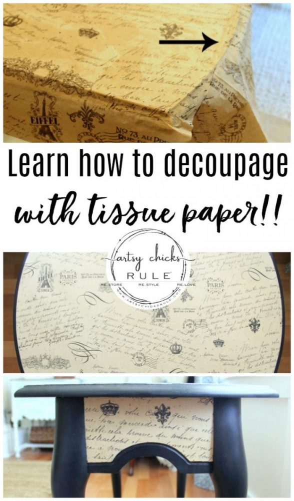 French Paper Decoupage....with TISSUE PAPER! So delicate and pretty! artsychicksrule.com #tissuepapercrafts #tissuepaperdecoupage #decoupagedfurniture #decoupagefurniture #decoupage #decoupageideas #frenchcountry #frenchcountrystyle #paintedfurniture #furnituremakeover