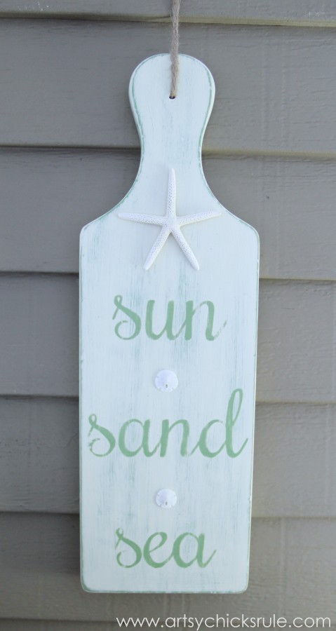Sun, Sand, Sea Beach Sign - DIY - Tutorial - Hanging on Porch #chalkpaint #sign artsychicksrule.com