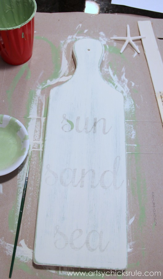 Sun, Sand, Sea Beach Sign - DIY - Tutorial - Lettering Transfer #chalkpaint #sign artsychicksrule.com