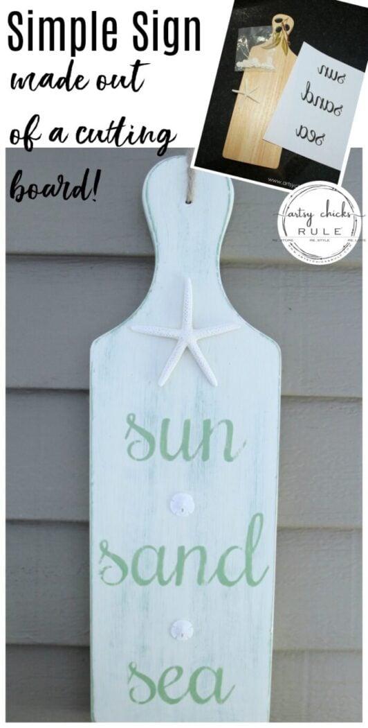 Sun, Sand, Sea Beach Sign - DIY - Tutorial -artsychicksrule.com #beachsign #sunsandseasign #cuttingboardsign