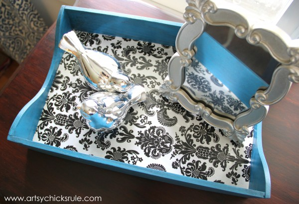 Corinth Blue Milk Paint Makeover with Decoupage - artsychicksrule.com #corinthblue #decoupage #diy #milkpaint #generalfinishes (1)