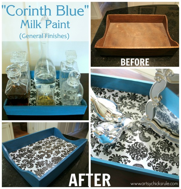 Corinth Blue Milk Paint Makeover with Decoupage - Before - artsychicksrule.com #corinthblue #decoupage #diy #milkpaint #generalfinishes (11)