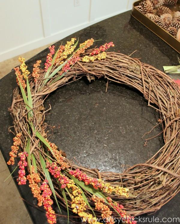 DIY Fall Wreath - Fall Themed Tour - Adding Base - #fall #falldecor #diy artsychicksrule.com