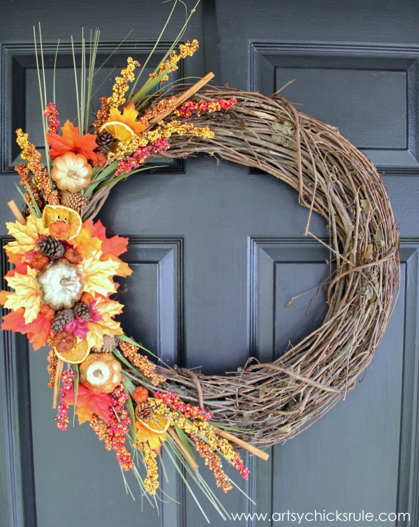 DIY Fall Wreath - Fall Themed Tour - On Door - #fall #falldecor #diy artsychicksrule.com